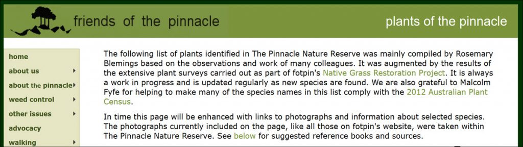 plants of the pinnacle nature reserve