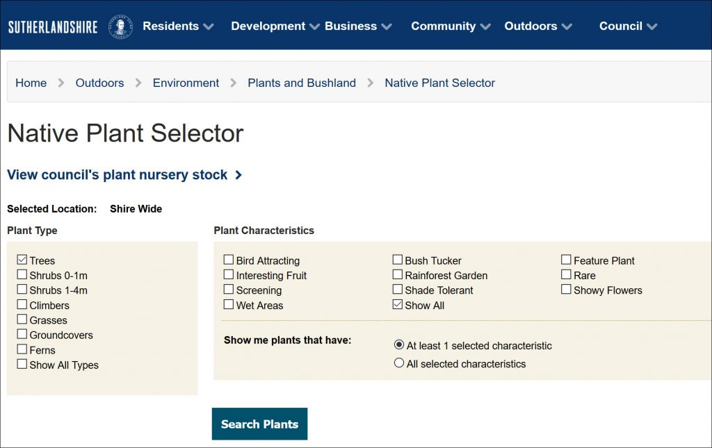 NSW Shutherland Shire Plant Selector