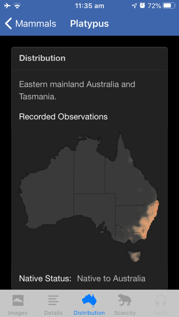 Field Guide to New South Wales Fauna app, Platypus