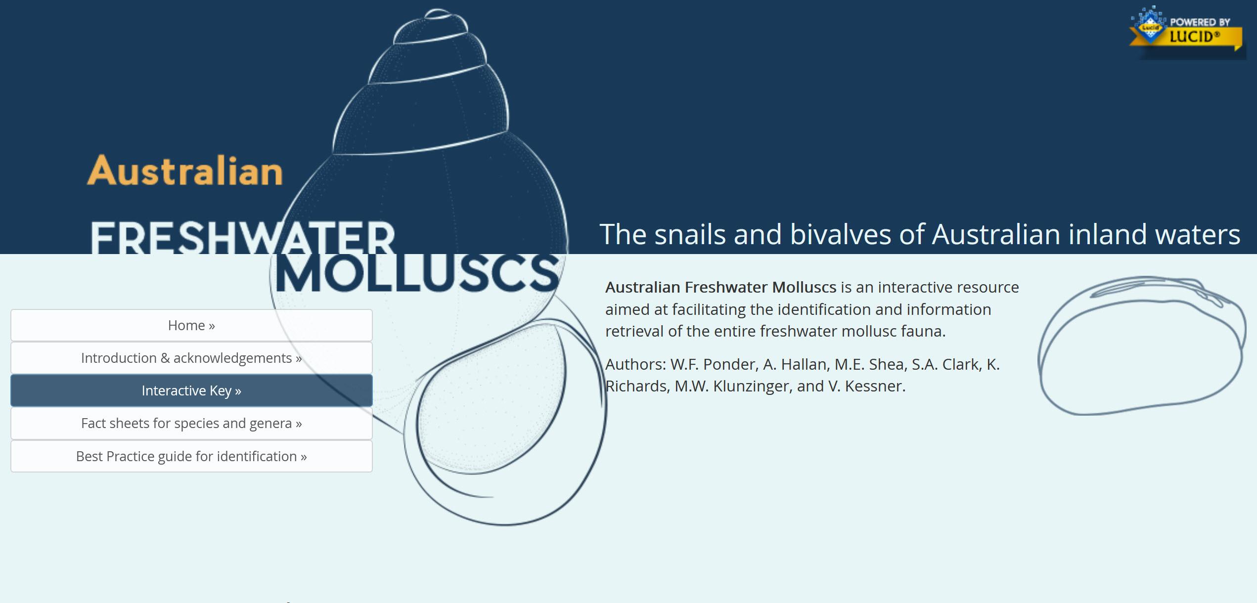 Australian Freshwater Molluscs website Book Cover